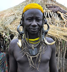 Mursi Warrior (Rod Waddington) Tags: africa man traditional decoration tribal warrior ethiopia tribe mursi ethiopian