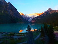 Sunrise glow over Victoria Glacier (peggyhr) Tags: blue trees friends sunlight white lake canada black mountains sunrise turquoise glacier alberta lakelouise victoriaglacier myflickrfavs finegold thegalaxy 25faves peggyhr myfriendspictures 100commentgroup dragonflyawards flickraward asbeautifulasyouwant mygearandme reflexoreflection blinkagain flickrtravelaward royalgrup redgroupno1 flickrstruereflection1 supersixstage1~flickrbronze niceasitgets~level1 p1270999a