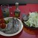 Salada de alface, camarao e caipirinha...