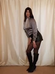 The boots and stripes. 10 (Karen Brent) Tags: leather shirt scarf high boots silk mini tights skirt blouse tgirl transvestite satin stiletto knee pantyhose crossdresser heeled