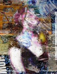 apologies to the general (Peter Yumi) Tags: pink blue woman collage paint tarpaper tornpaper peteryumi sophieloren