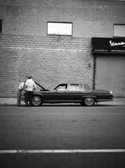 (pexy) Tags: city people blackandwhite classic film car brooklyn mediumformat photography fuji perspective ishootfilm ilford100 ga645 fujifilmga645 epsonperfectionv700 pexy davidpexton authordavidpexton