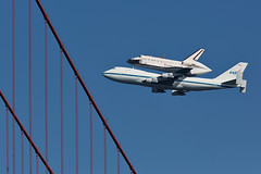 Endeavour and the Golden Gate Bridge (AGrinberg) Tags: sanfrancisco airplane space flight explore goldengatebridge cables shuttle boeing piggyback 747 endeavor endeavour ggb sfendeavour2012 23342shuttlecable