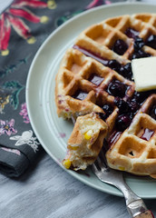 Sweet Corn Waffles with Blueberry-Maple Syrup (Pink Parsley Blog) Tags: nikond7000 50mmf18 f35 ¹⁄₃₂₀sec iso800
