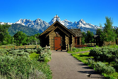 Sunday Morning ... (Aspenbreeze) Tags: grandtetonnationalpark tetons tetonmountainrange churchofthetransfiguration church ruralchurch logchurch oldchurch country mountainscape mountains wyoming bevzuerlein moonandbackphotography aspenbreeze