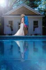 C & K (Burbank Photography) Tags: wedding bride groom pool reflection just married hitched canon 6d 1740 17 40 llens new england photographer portrait burbank flare lensflare
