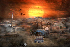 5 Star Motel (brian_stoddart) Tags: surreal painterly car desert bodie sundown buildings snake