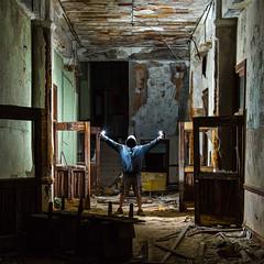 The specter (John Getchel Photography) Tags: abandoned detroit stagnesschool decay flashphotography selfportrait strobelight urbex flash