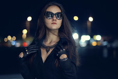 she wears sunglasses at night (Arthur Kantemirov) Tags: sunglasses sunglassesatnight anna hanna voronina girl night nightphotography leather gloves gangster necklace bokeh nightbokeh wild sexy russian russia belarus skin glasses reflection arthurkantemirov torontophotographer fashion model