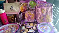 Tangled Rapunzel Collection (Suki Melody) Tags: rapunzel tangled disney tote bags water bottle plates pins dsf ptd mugs designer fairytale stationery necklace lip gloss lunch bag bow hair clip pascal mother gothel haul store collection