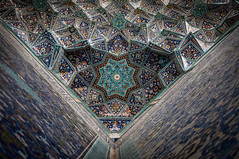 Iranian Architectural Masterpieces (Ivo Daskalov) Tags: iran persia iranian persian qajari architecture pattern mosque islamic design ceiling ceilings rosette lines tile tiles blue triangle triangles symmetry equal proportion light photography travel temple template mirror art