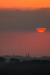 Inverted sunrise (Markus Trienke) Tags: landscape herbst sauerland mrkischerkreis sunrise sun clouds cloudy morning dmmerung dawn canon eos 70d red church misty foggy