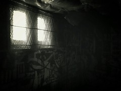 Unknown Light Beyond     ( Explored 9-11-2016 ) (K.Chris ~AlwaYs LeaRning~) Tags: shadow light blackandwhite window graffiti wall luminous abandoned dark explore flickr