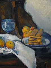 CEZANNE,1877-79 - Le Buffet - Still Life, The Buffet (Budapest) - Detail -c (L'art au prsent) Tags: art painter details dtail dtails detalles painting paintings peinture peintures 19th 19e peinture19e 19thcenturypaintings 19thcentury detailsofpainting detailsofpaintings tableaux paulczanne paulcezanne cezanne czanne stilllife naturemorte budapest hongrie hungary citrons citron lemon lemons orange oranges nappe nappeblanche whitecloth chiffon cloth bleu blue tasse cup sucrier sugarbowl buffet knife fruit food pomme apple apples glass verre dessert biscuits