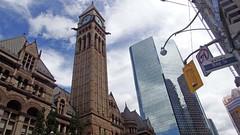 Clock Tower in Downtown Toronto (soniaadammurray - OFF) Tags: digitalphotography clocktower toronto ontario canada sky clouds architeture skyscraper signs lights nicewonderfultuesdayclouds martedidinuvole martesdenubes