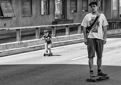 Father and Son (Guilherme Nicholas) Tags: blackandwhite bw monochrome street streetphotography father son skate