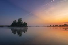 The Island (Mirek Pruchnicki) Tags: radymno województwopodkarpackie polska island lake morning light horizon blue sky sunrise reflection mirror silence windless