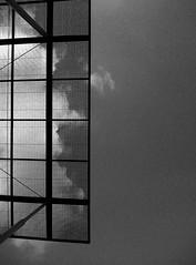 Half & half (Amanda Alvarez Da Costa) Tags: sky bw lines architecture clouds grid frames arquitectura squares steel venezuela bn caracas cielo nubes cuadros chacao lineas acero cubierta tramas cuadrcula estructurametlica plazalospalosgrandes
