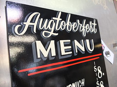 Augtoberfest Menu (dusty signs) Tags: party signs dusty sign painting typography restaurant midwest hand traditional minneapolis painter block lettering tilia