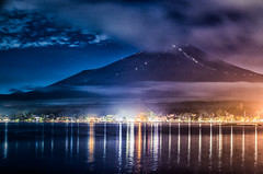Mount Fuji at night from Yamanaka lake (kirainet) Tags: fuji mountfuji  fujiyama pasadodevueltas