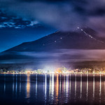 Mount Fuji at night from Yamanaka lake