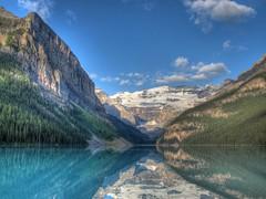 Still Lake Louise Morning HDR 2 (fusionpanda) Tags: canada landscape alberta banff lakelouise hdr mountvictoria victoriaglacier photomatix