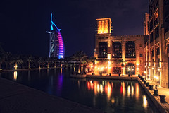 Dubai (~OTH~) Tags: life sea color beach colors night dark hotel dubai slow shutter jumera worldtrekker