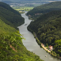 The sinuosity of the river Saar (Bn) Tags: world blue summer sky panorama green castle heritage nature clouds rural forest river germany out observation outdoors deutschland boat site topf50 ruins scenery warm republic loop shaped hiking tourist rivire unesco explore bow vista shooting meander through curve visitors montclair shape fluss viewpoint allemagne blick konz burg duitsland saar saarland oxbow bedrock aussichtspunkt saarschleife unspoiled outs rivier panoramicview sarre bocht mettlach cloef 50faves sinuosity ziegelberg saareck cloefpfad saarhunsrckstieg