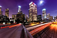 Downtown Los Angeles (_flowtation) Tags: california ca city longexposure vacation sky moon tower cars skyline night abend mond la licht losangeles highway downtown cityscape skyscrapers nacht strasse urlaub towers sigma autobahn fullmoon angels freeway downtownla autos banks taillights kalifornien fourthstreet cityofangels vollmond usbank langzeitbelichtung unionbank downtownlosangeles sigma1020mm 110freeway ladowntown strase losangelesdowntown wokenkratzer highway110 d7000 nikond7000 usbankla unionbankla