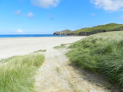 Camus na Clibhe, Island of Lewis, 31st July 2012 (allanmaciver) Tags: blue sky white beach grass weather clouds contrast wonder island scotland track joy lewis delight remote approach camus headland admire clibhe allanmaciver