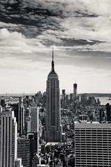 Empire State Building from Top of the Rock (chylle) Tags: city travel usa white newyork black monochrome skyline america manhattan rockefellercenter empirestatebuilding topoftherock 2012 canonef24105mmf4lisusm canoneos7d
