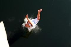 Sabrina quarry shoot_0122-2 (JMV Portfolio) Tags: cliff reflection guy water rock mirror jump waves action pair dive calming falling reflective barefeet midair shorts ripples splash quarry swiming halfexposed