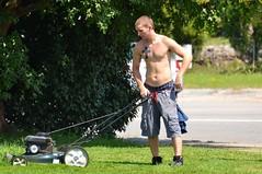 Lawn Maintenance Man (Tobyotter) Tags: man male guy armpit tattoo cross stranger sagging youngman shirthless peekingpits
