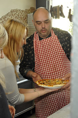 Her own pizza (Roving I) Tags: food blondes sydney longhair restaurants australia pizza gingham aprons classes italiancuisine puntinotrattoria antoniosabia