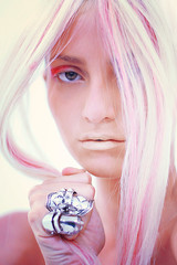 With Just One Glance You IV (Arely Pereira) Tags: pink portrait art fashion rainbow model pastel makeup rings blonde editorial arelypereira