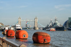 The buoys of London (larigan.) Tags: city england london thames towerbridge river capital september hmsbelfast metropolis buoys touristattraction gla 2012 larigan phamilton paralympicagitos londonbeehive