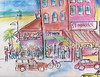 VENICE BEACH AND SANTA MONICA PIER (roberthuffstutter) Tags: style expressionism impressionism beachcities huffstutter 1960scalifornia watercolorsbyhuffstutter originalsavailable artmarketusa southbaywatercolors southbayscenes signedcopiesavailable watercolorsofsouthbay strandwatercolors huffstutterssouthbayart