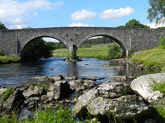 Old Bridge, River Cassley, Rosehall, July2012 (allanmaciver) Tags: old bridge blue two sky water clouds river wonder rocks quiet arch peace view stones july enjoy strong through engineer impressive built 2012 rosehall admire cassley allanmaciver