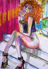 2016_005_WC_HOOKER ON STEPS (jaimsart) Tags: erotic sexy woman working prostitute whore original painting watercolour jaims art saatchi saatchiart steps sitting smoking blondhair red bed