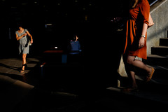 ... (vencilalev) Tags: color contrast shadows light women walk street stairs mysterious movement everyday people day life soulful lady sofia bulgaria