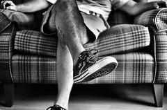 "That bank holiday feeling ! (CJS*64 ""Man with a camera"") Tags: relax relaxed stayingin sit sat sofa stripes checks blackwhite bw blackandwhite whiteblack whiteandblack mono monochrome 35mmlens 35mm18lens nikon nikkorlens nikkor nikond7000 dslr d7000"