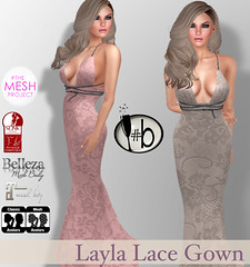 #b Layla Lace Gown (candi1223) Tags: bubbles lace leather gown bridesmaid dress pink neutral mint pewter white maitreya tmp belleza avatar mesh avi secondlife fashon slfashoin