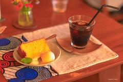 (^^Teraon) Tags: japan nara    nagi  meal  restaurant restaurante garden cafe gardencafe canon eos m2 eosm2 sigma50mmf14exdg  icedcoffee   chiffoncake cake bokeh