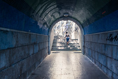 Walking out of the tunnel / Sortir du tunnel... (Gilderic Photography) Tags: cascais portugal tunnel boy stairs canon 500d gilderic light shadows people escalier blue vacation