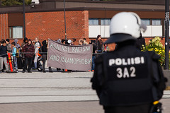Nationalist Rally (Tuck Happiness) Tags: helsinki finland vuosaari mielenosoitus demonstration rally riot police counterdemonstrator antifascist
