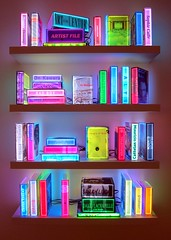 'Enlightenment' (Mary Faith.) Tags: light books movei bookshelf illuminated art craft gallery sydney modern colourful rocks movies