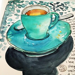 Tea at Sayers (Evelyn Bach) Tags: sketch sketchbook stilllife cafe cup tea illustration penandwatercolour drawing skizzen zeichnen visualjournal visualdiary