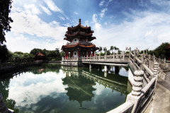 [architecture] Chinese tower (Taotzu Chang) Tags: park bridge blue red sky building tower water rock architecture canon asia gray chinese structure fisheye hdr tranditional 815mm pooldodo