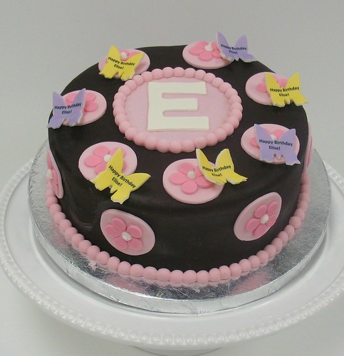 [Image from Flickr]:Butterfly Birthday Monogram cake