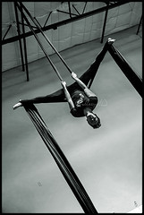 Double Foot Lock Straddle Back (Mary Adrenaline) Tags: blackandwhite bw male training az aerial ceiling indoors acrobatics hanging acrobat strength scottsdale inverted fitness height silks flexible pentaxk10d circusschoolofarizona maryadart